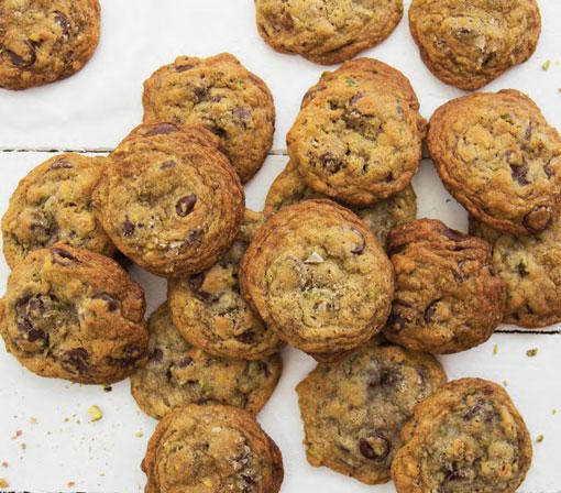 Dark Chocolate, Pistachio, and Smoked Sea Salt Cookies