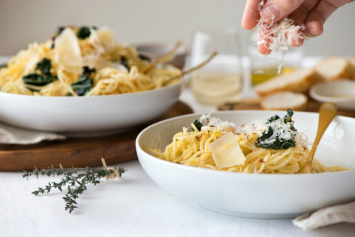 Olive Oil and Kale Spaghettini Pasta