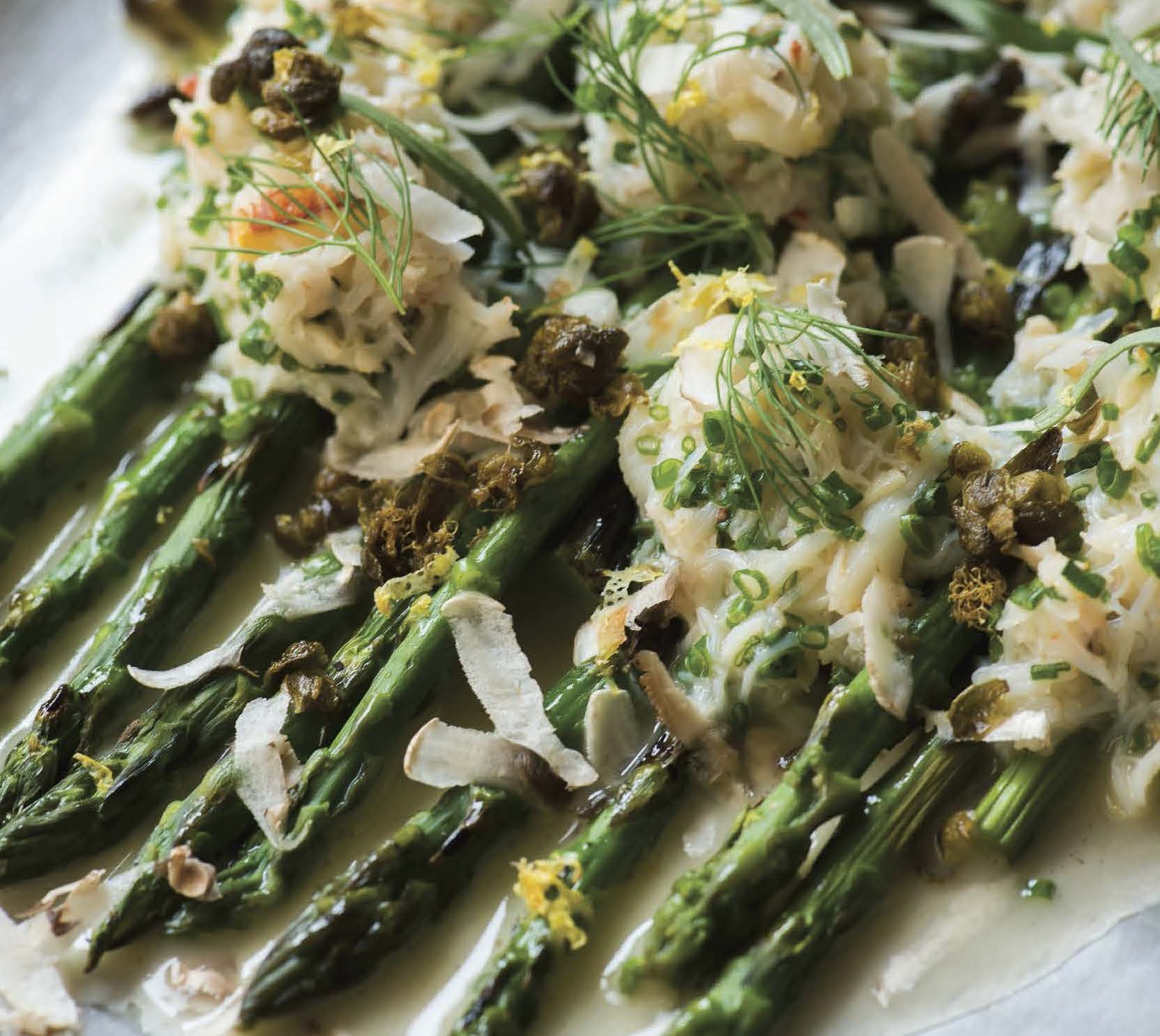 Grilled Asparagus With Herbed Dungeness Crab And Crispy Capers Taste