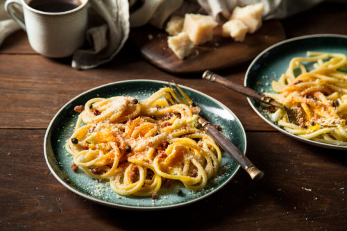 Cheesy Breakfast Spaghetti