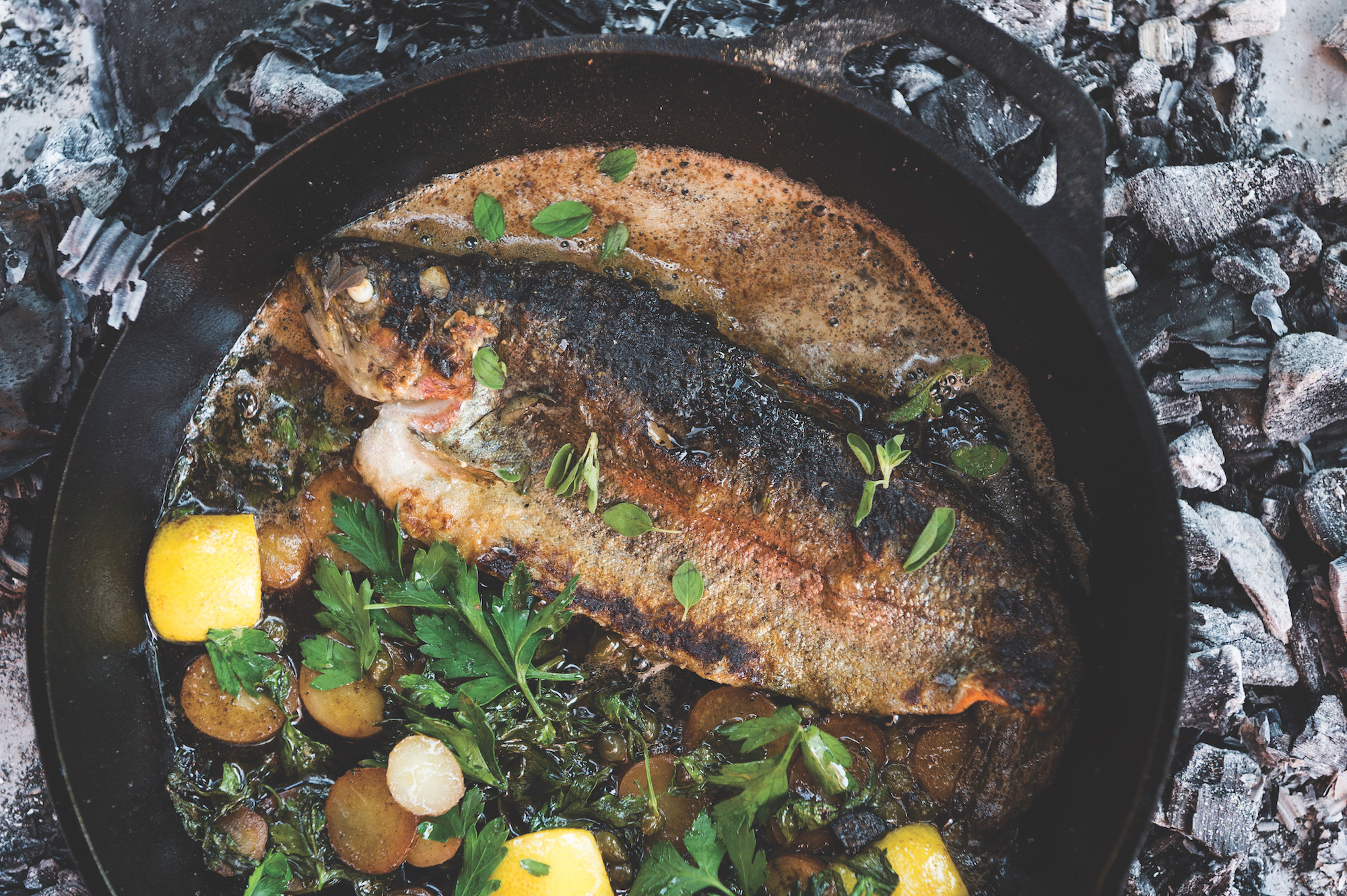 Cast iron grilled whole trout taste for Iron fish for cooking