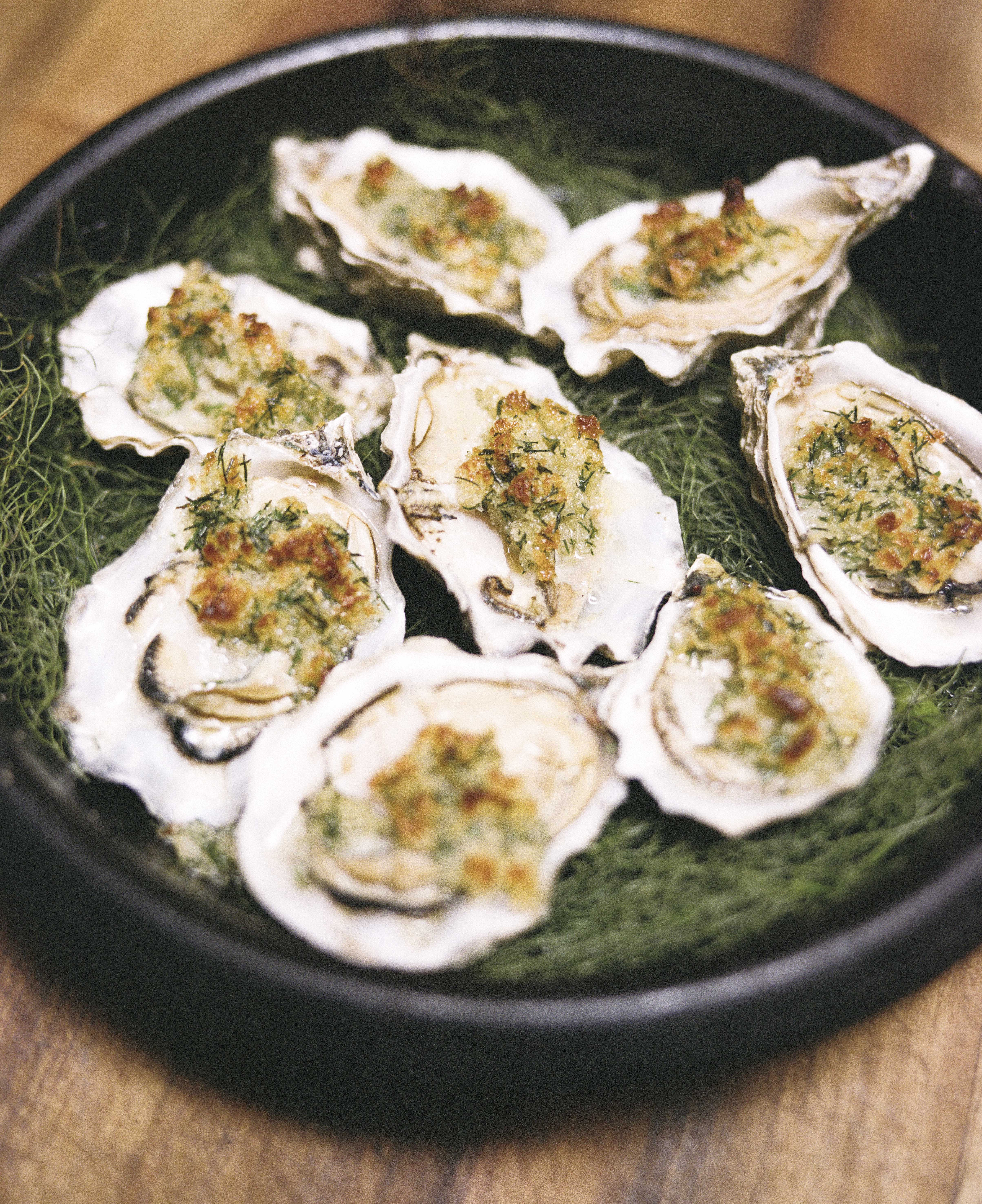 Baked Oysters with Absinthe and Breadcrumbs