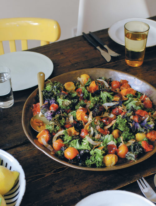 Warm Salad of Roasted Kale, Coconut, and Tomatoes
