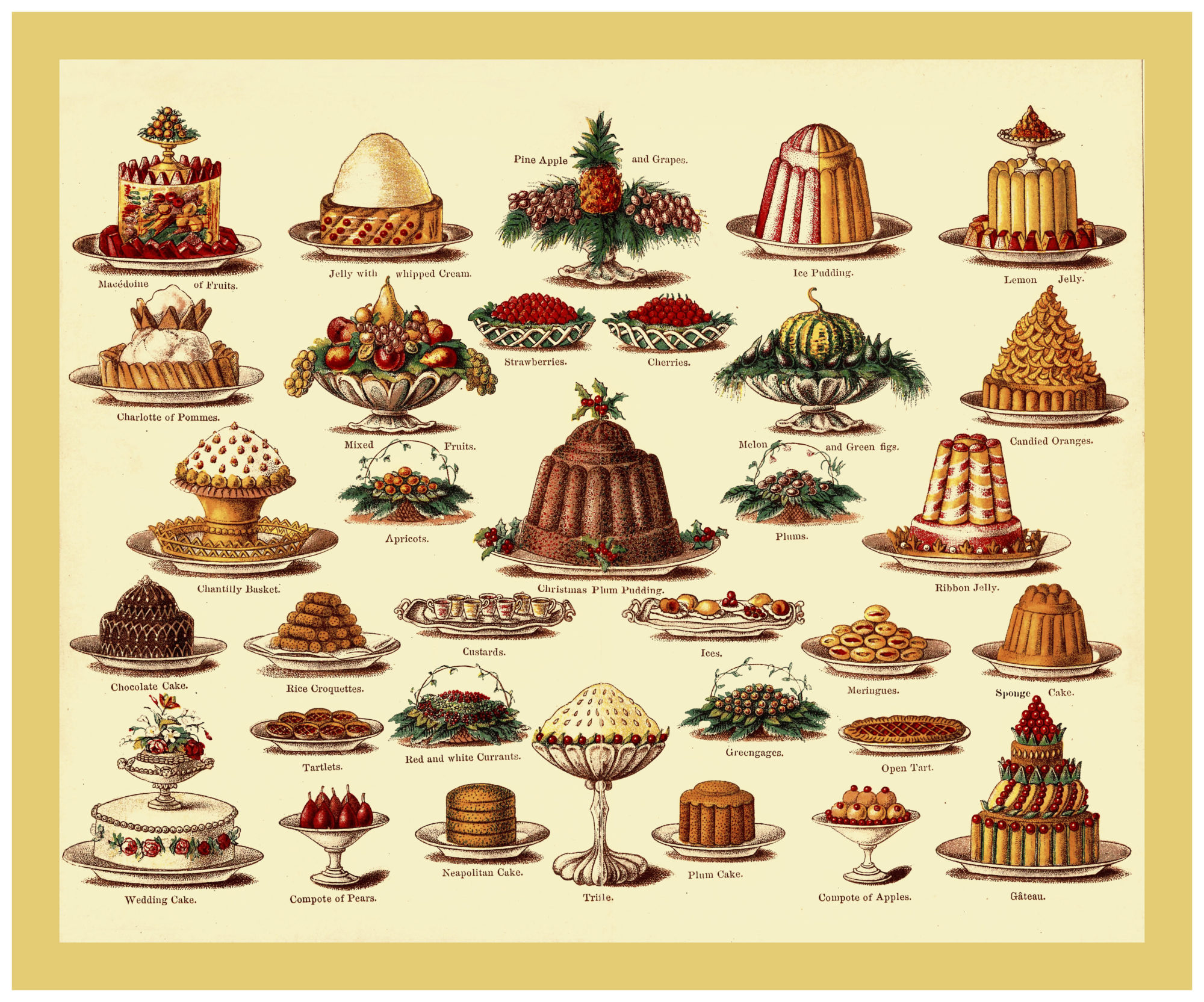 VICTORIAN CHRISTMAS FOOD PUDDINGS DESSERTS CAKE VINTAGE MRS BEETON'S Colour lithograph from Mrs Beetons Cookery Book illustrating wide variety of English Christmas Victorian Puddings 1800s-1900s