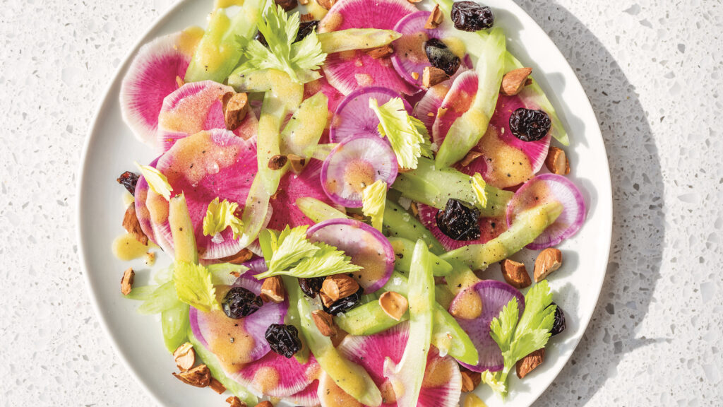 Celery and Watermelon Radish Salad with Nuts and Dried Cherries