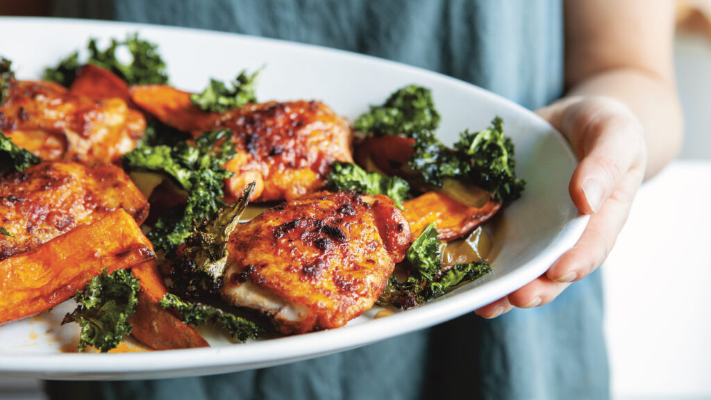 Paprika Chicken with Sweet Potatoes and a Crispy Kale Crown