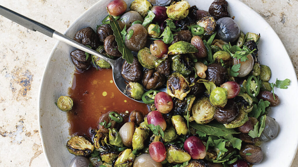 Sweet and Sour Sprouts with Chestnuts and Grapes